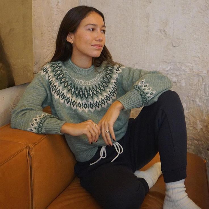 melissa villarreal jersey de oysho jerséis con motivos invernales verde