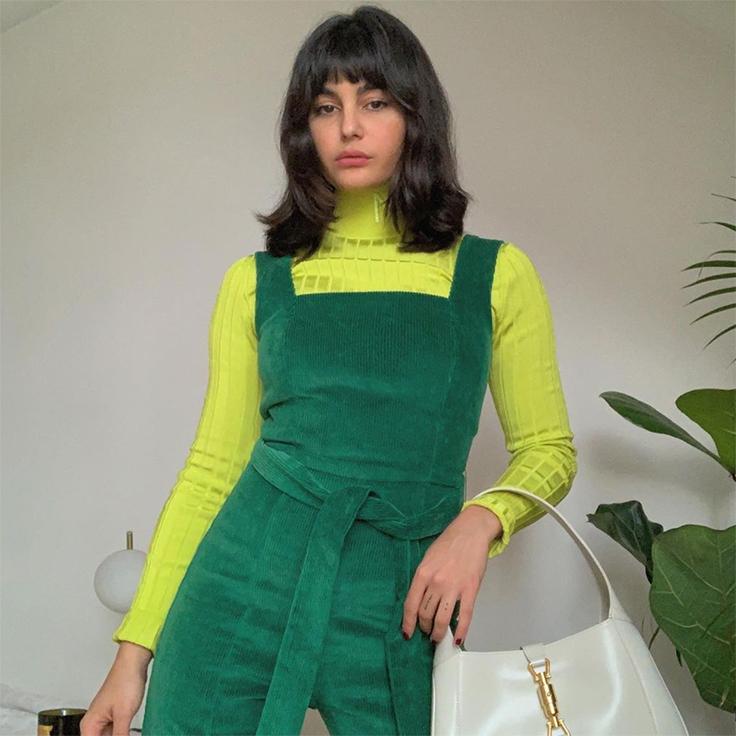 tendencia prendas de pana mono verde botella de maria bernad