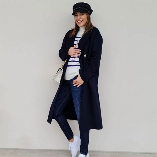 Paula Echevarría looks premamá jersey de rayas