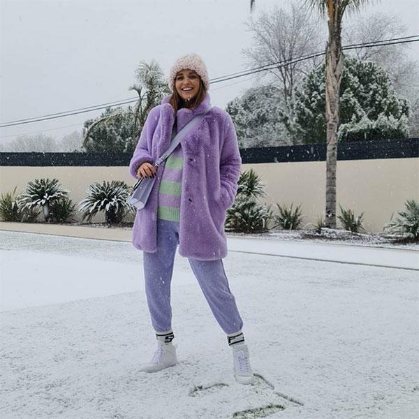 Paula Echevarría looks premamá todo al lila