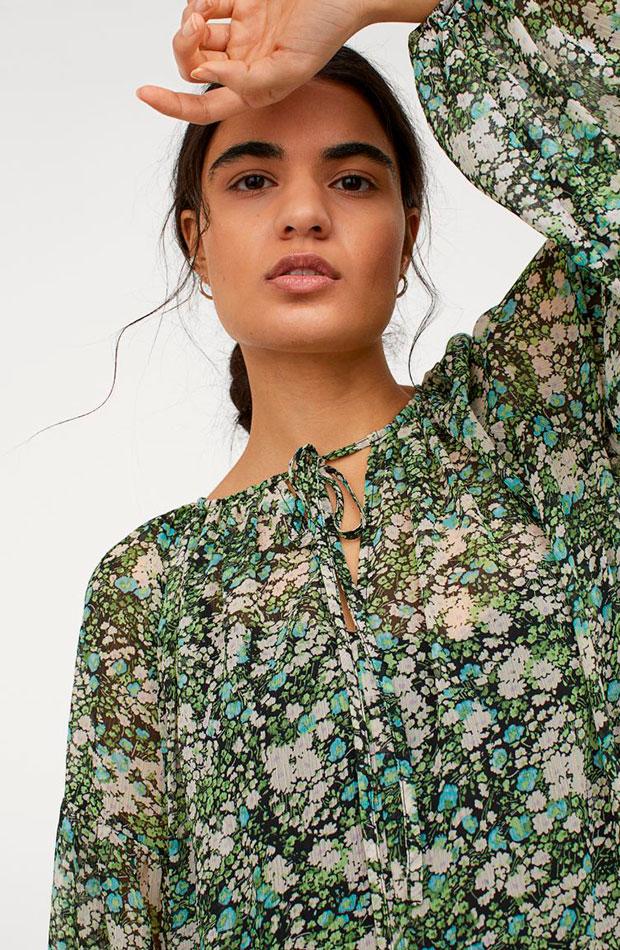 Vestido largo de flores de H&M