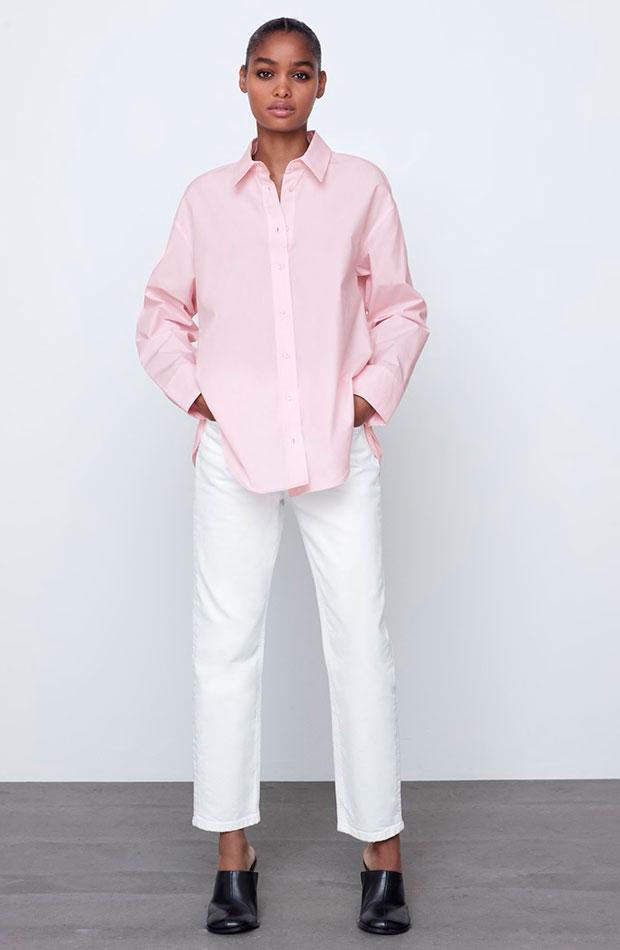 Camisa rosa oversize de Zara