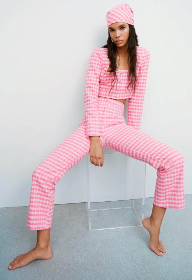 Pantalones de estampado de cuadros vichy de Zara