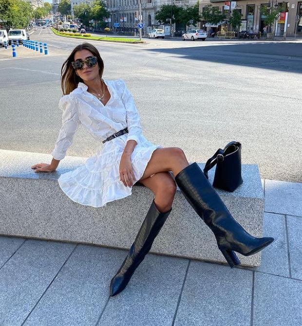 Mery Turiel con vestido blanco