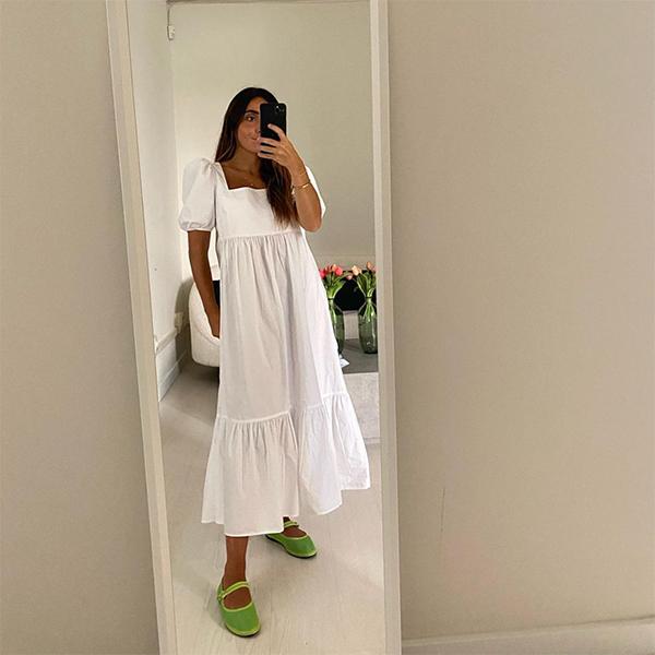 ines arroyo vestido blanco de volantes