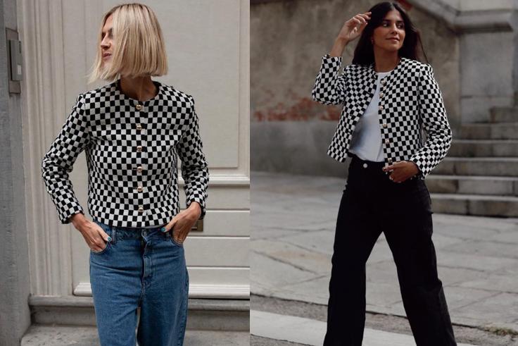 @lindatol_ y @mariagdejaime chaqueta de cuadros blanco y negro mango otoño 2021 prendas virales
