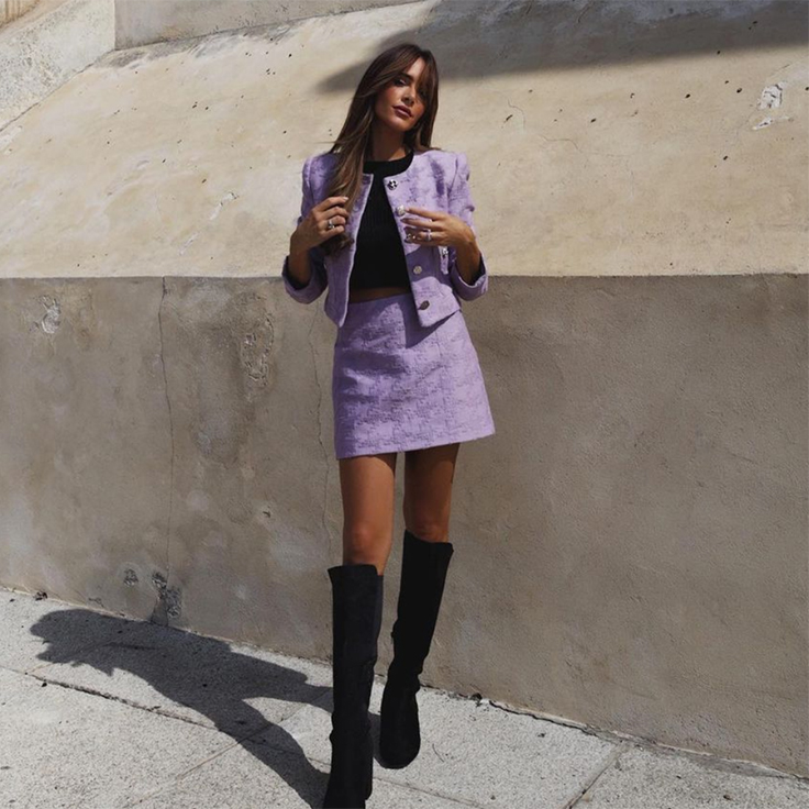 rocio0sorno traje lila falda mango