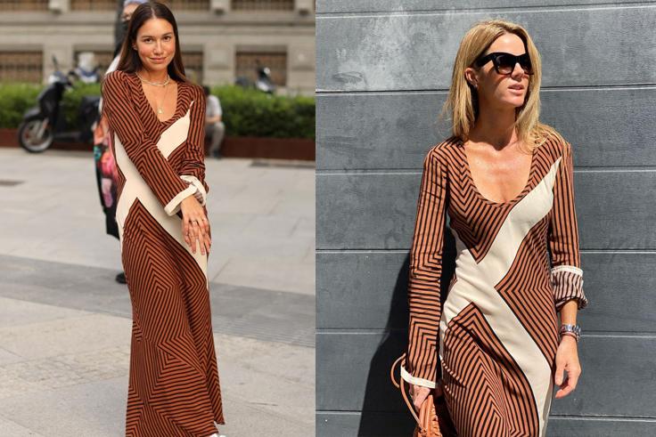 @melissavillarreal y @ameliabono vestido de zara rayas otoño 2021