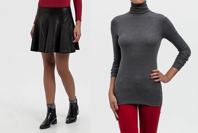 Total look Polo Raplh Lauren con falda de vuelo de piel y cuello vuelto gris