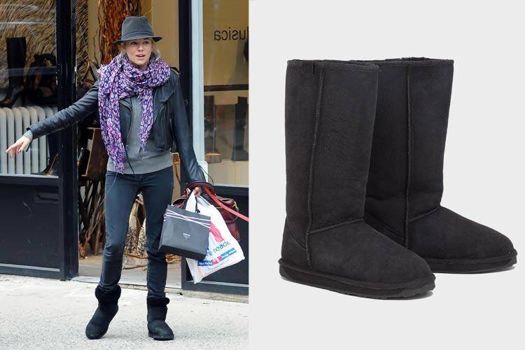 Sienna Miller con botas EMU negras
