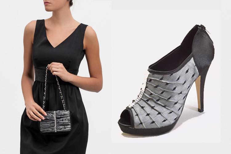 Accesorios para vestido negro con gris