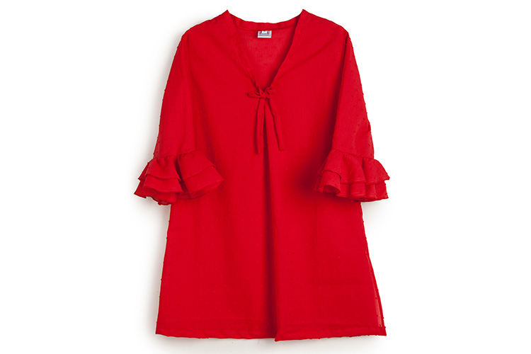 Moda infantil en Primeriti. Vestido rojo Errequerre