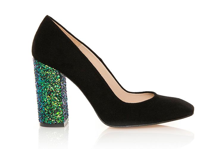 Zapatos de Hannibal Laguna con descuento. Salones con tacón de purpurina