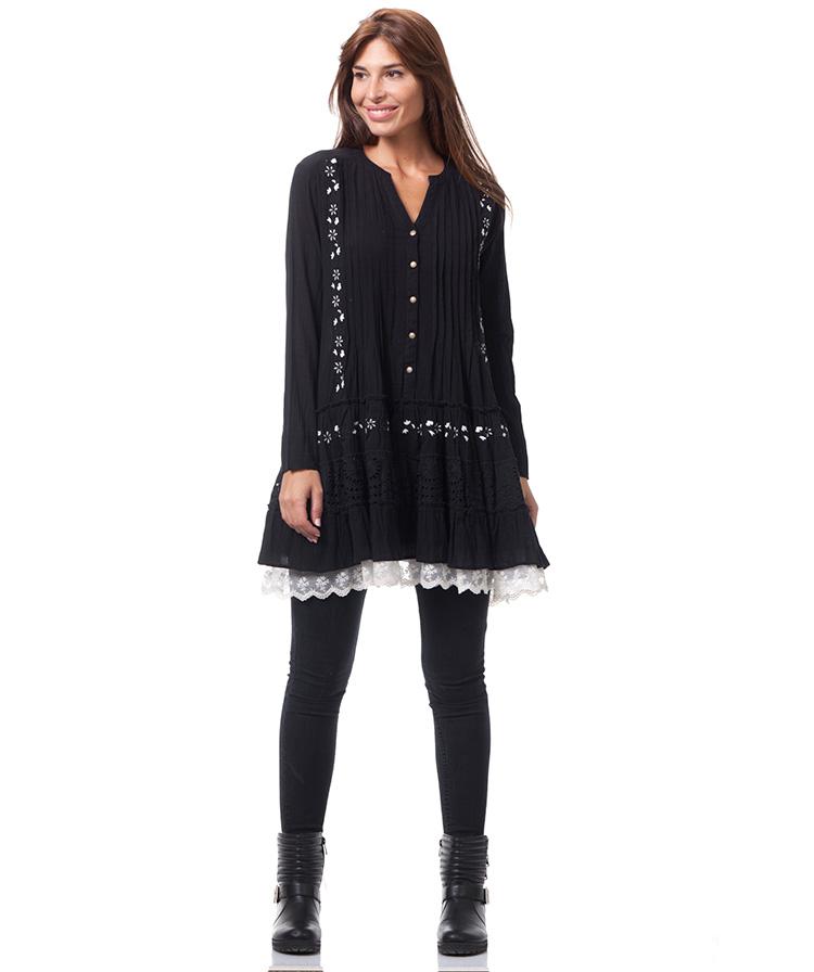Vestidos de invierno. Vestido negro con jaretas