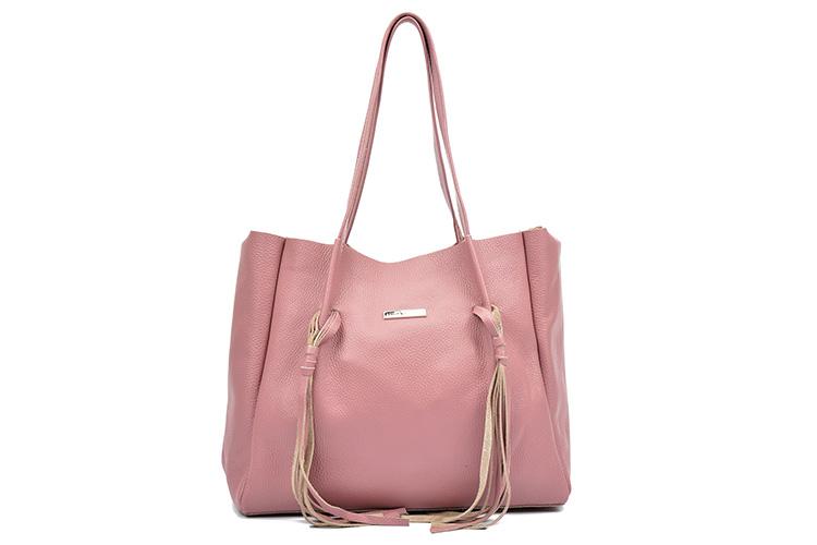 Maxi bolsos de piel. Bolso rosa