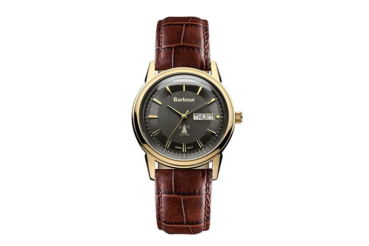 Relojes Barbour. Reloj clásico caja de acero y correa de cuero.