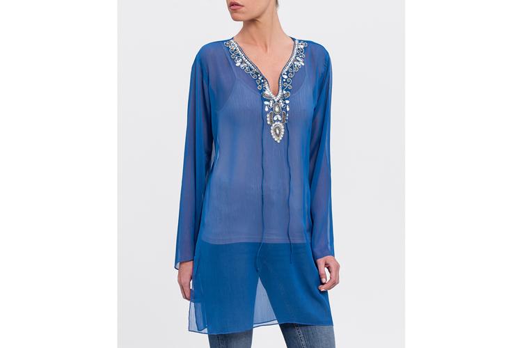 Camisas bordadas. Kaftan azul