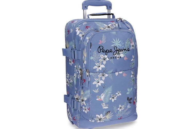 Accesorios de viaje. Maleta azul de flores