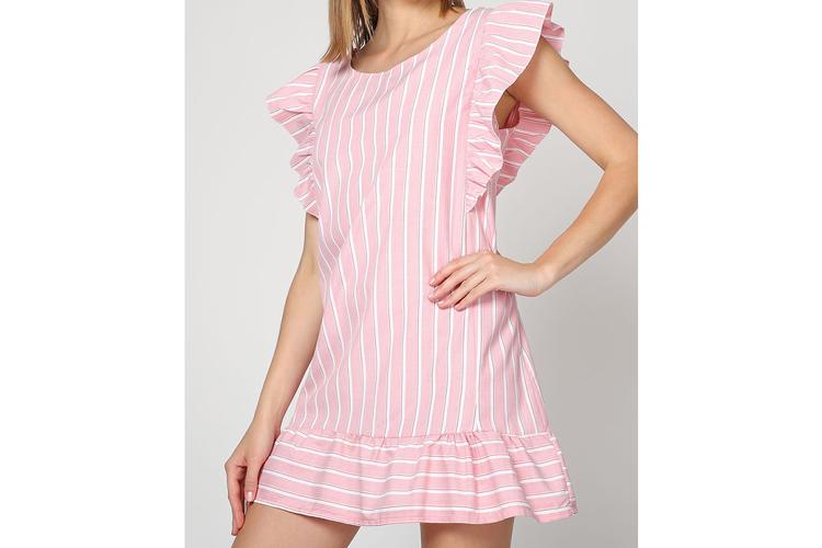 Vestidos de verano. Vestido rosa con volantes