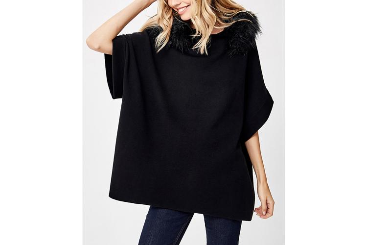 Jerséis de cashmere. Jersey capa negro con capucha