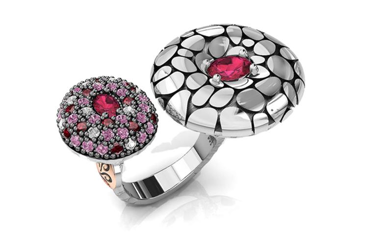 Bohemme. Anillo de plata con piedras rosas