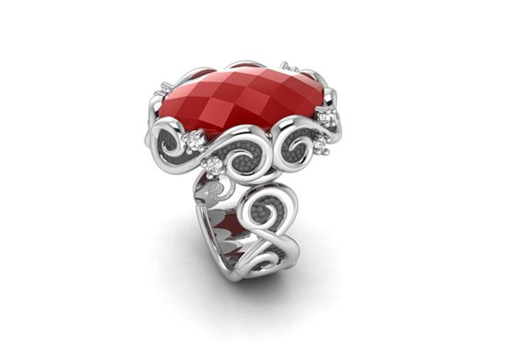Bohemme. Anillo de plata con piedra roja