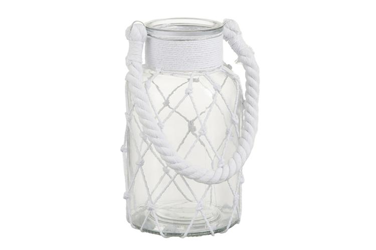 Decoración Estilo Nórdico. Portavelas con cuerda blanca