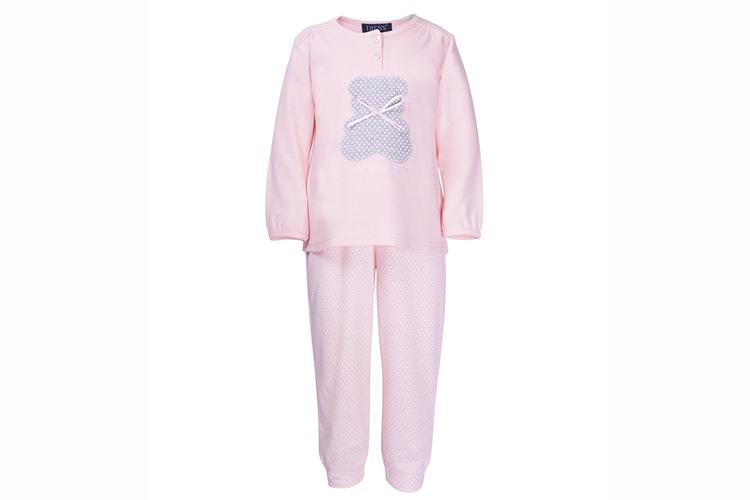 Pijamas infantiles. Pijama de niña rosa a lunares
