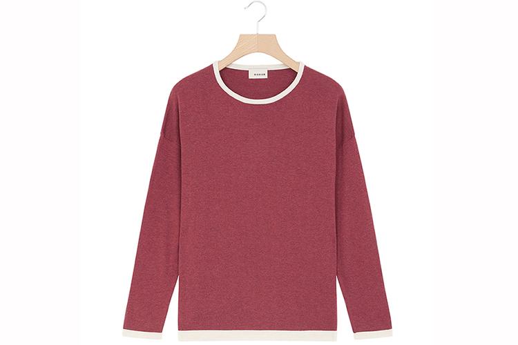Rodier. jersey de punto de cuello redondo color fresa