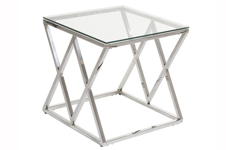 Deco. Mesa auxiliar de cristal y metal