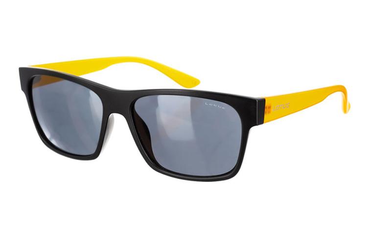 Regala gafas de sol. Gafas de sol montura negra con las patillas amarillas