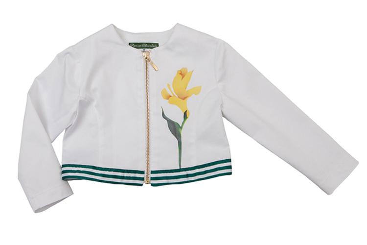 Moda Infantil. Bomber blanca con flor