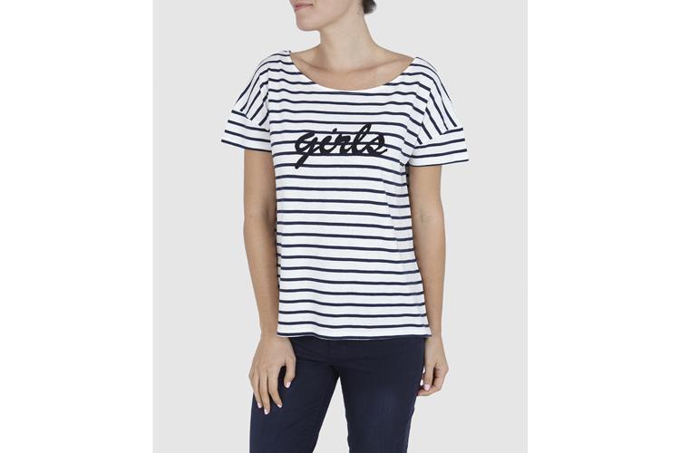 Naf Naf. Camiseta a rayas con mensaje