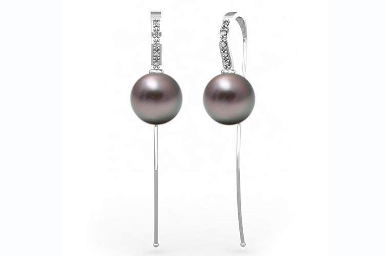 Pendientes para San Valentín. Pendientes de perlas negras