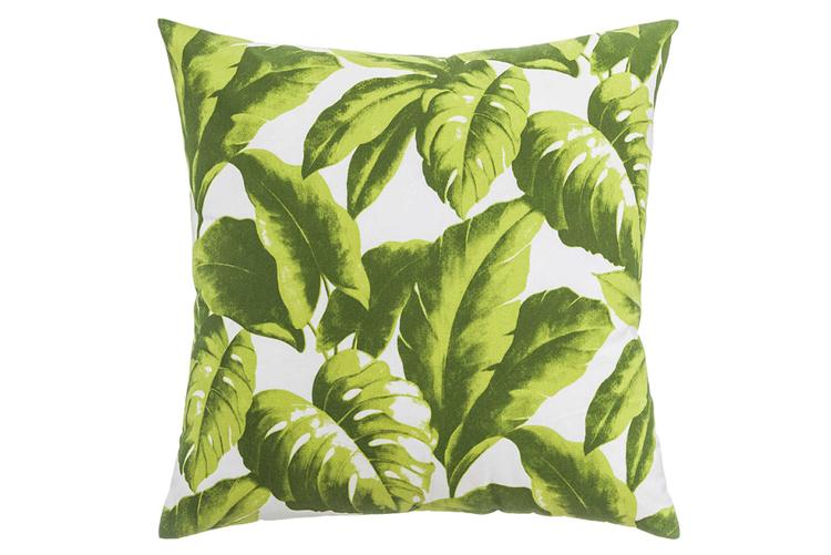 Textiles con estilo. Cojín con estampado de hojas