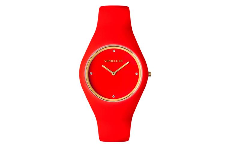 Vip Deluxe. Reloj goma rojo