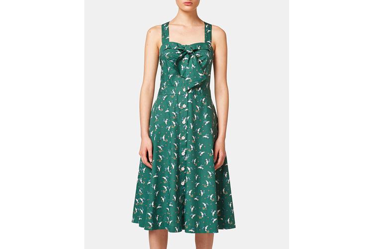 Esprit. Vestido verde estampado