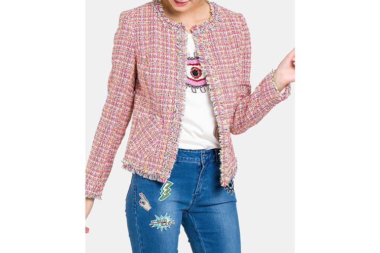 Naf Naf. Chaqueta de tweed rosa