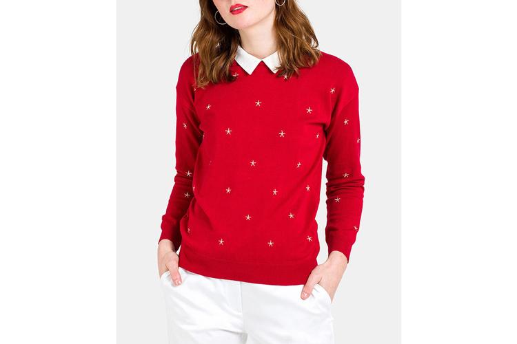 Naf Naf. Jersey rojo con cuello blanco
