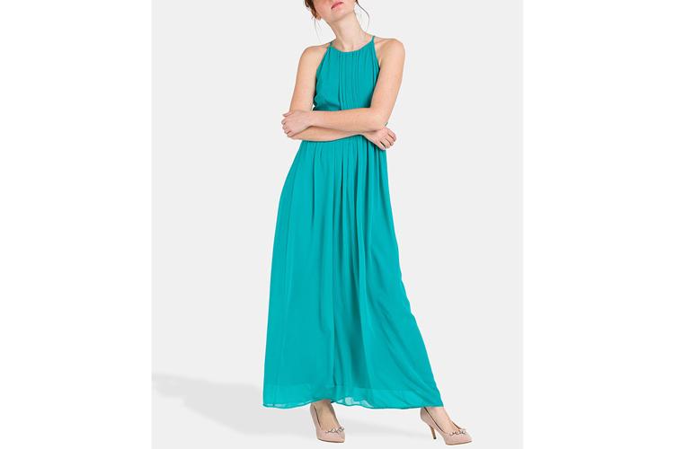 Naf Naf. Vestido midi turquesa