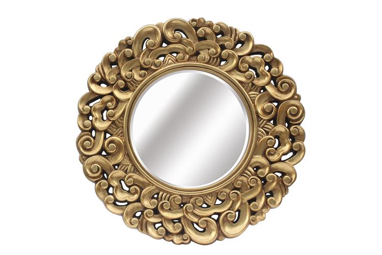Tendencias Deco. Espejo redondo dorado
