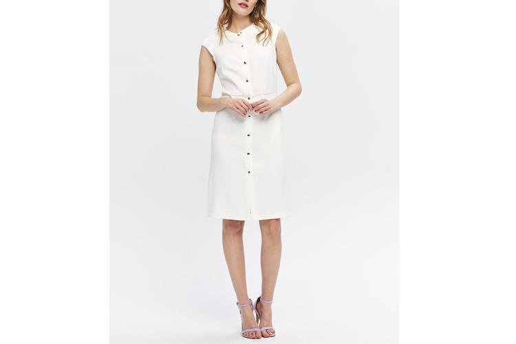 Zocha. vestido abotonado blanco