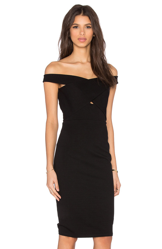 Off the shoulders vestido midi negro revolve clothing