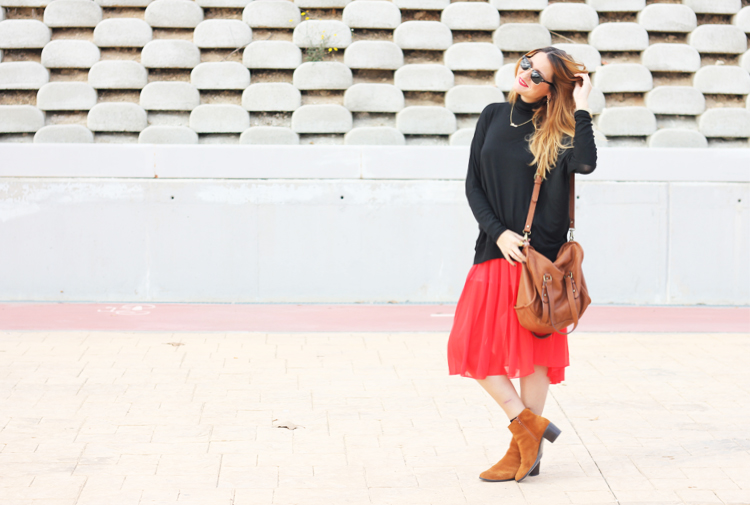 pleated-red-skirt