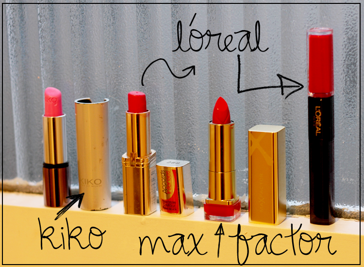 lipsticks-red-pink-loreal-kiko-max-factor
