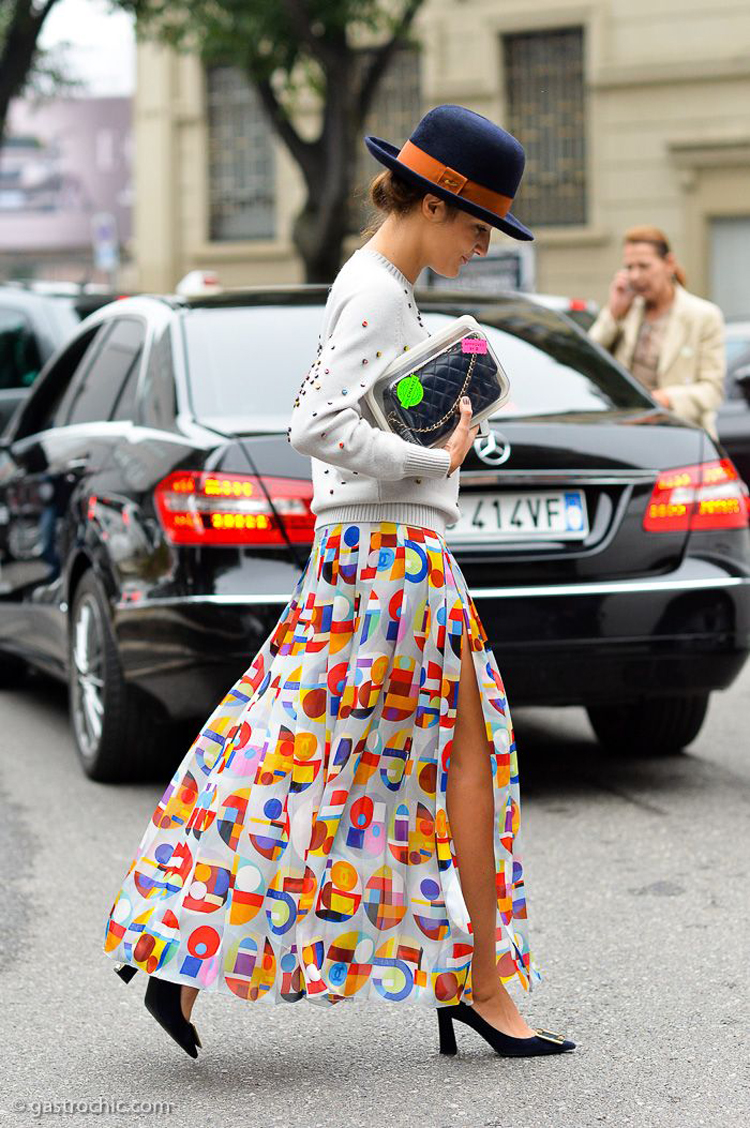 Eleonora Carisi in Chanel, Outside Giorgio Armani SS2015