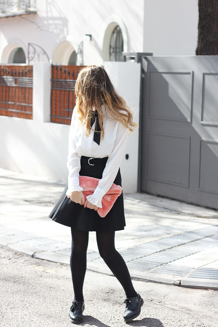 white-shirt-bkack-skirt