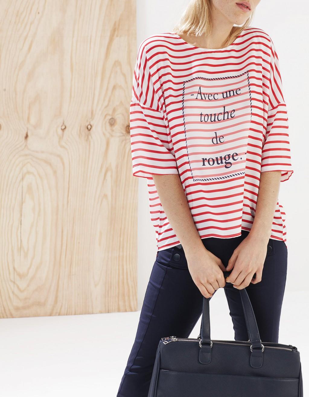 Camiseta de rayas marineras roja stradivarius