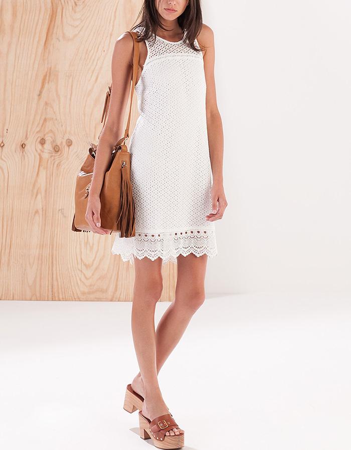 Vestido blanco detalles stradivarius