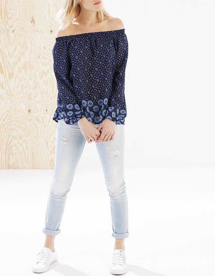Camisa print azul stradivarius